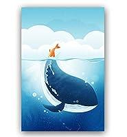 Huihuart DIYの油絵(フレームを組み合わせた)、装飾的な絵画 数字によるDIYの着色写真数字による小さな漫画イルカの絵の描画の絵40x50cm