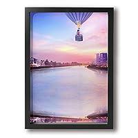 熱気球 壁絵 現代絵画 キャンバス絵画 インテリア 額縁付きの完成品 絵画 軽くて取り付けやすい (木枠付22x33 Cm)