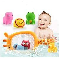 フローティングバスおもちゃ赤ちゃんとおもちゃのための楽しい動物のゴム製のバスの湯沸しポットオーガナイザーとバストイレキッズシャワーバスタブフローの水のおもちゃギフト