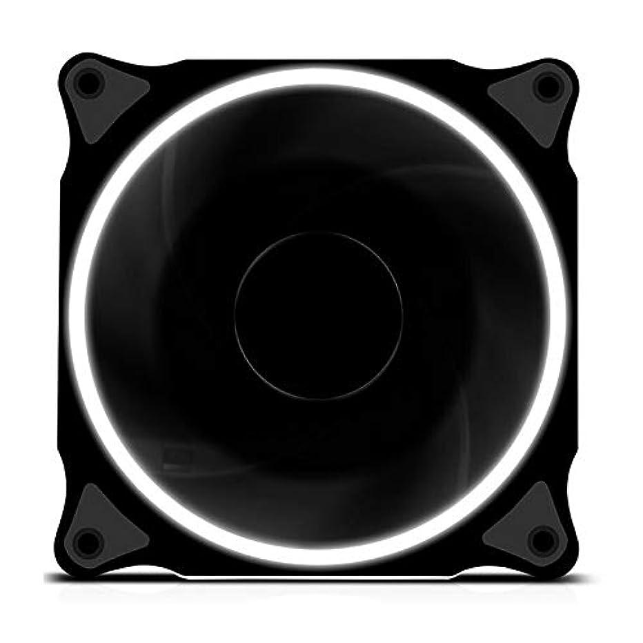 意欲カンガルー割り込みPCファン4ピンPWM 120mm LEDコンピューターシャーシファンコンピューターシャーシ用超静音PC冷却ファンCPUクーラーおよびラジエーター超静音7ブレード (Color : White)