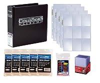 """Ultra Pro 3"""" Collectors Album–カードコレクタースターターキット–ブラックアルバム、9ポケットページ、袖、トップローダー& Miniスナップホルダー"""