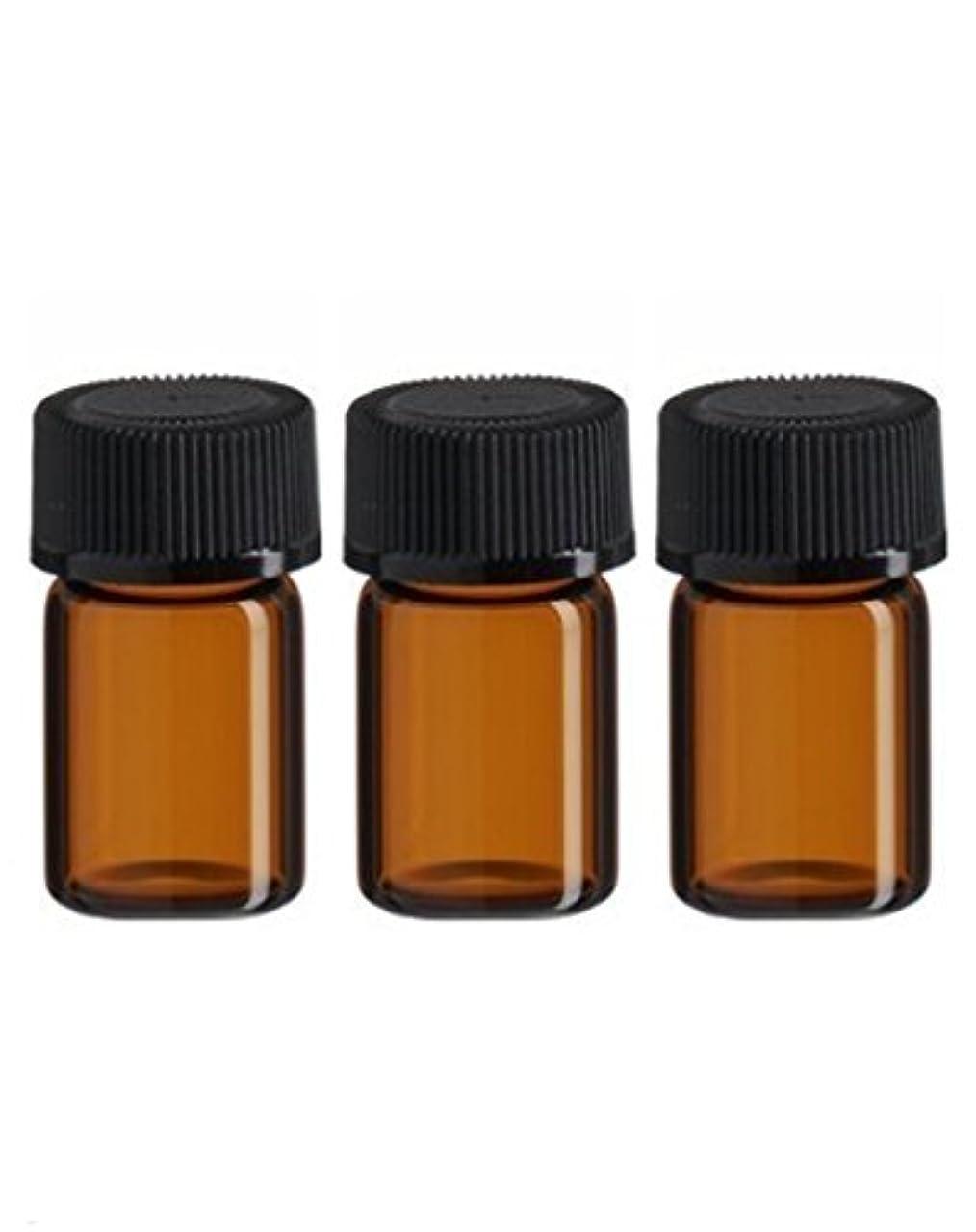 ペチコート胸序文(50) - 50pcs 3 ml Amber Glass Essential Oil Bottle with Orifice Reducer and cap (50)