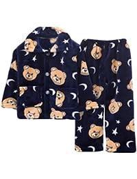 (ジャンーウェ)子供 女の子 男の子 秋冬 パジャマ ルームウェア 襟付き 上下2点セット 長袖 気持ち良い コットン 大きいサイズ ジュニア 前開き もこもこ かわいい