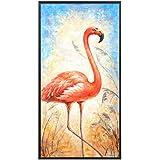 油絵装飾的な エレガントな純粋な手描きの油絵アニマルプリントフラミンゴ寝室用リビングルームダイニングルーム家の装飾フレームなし 家の装飾のためのウォールアート (サイズ : 90×140cm)