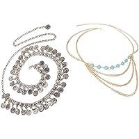 Prettyia 2Pcs Boho Gypsy Waist Body Chain Drop Coins Hippie Belt Belly Summer Beach Jewelry