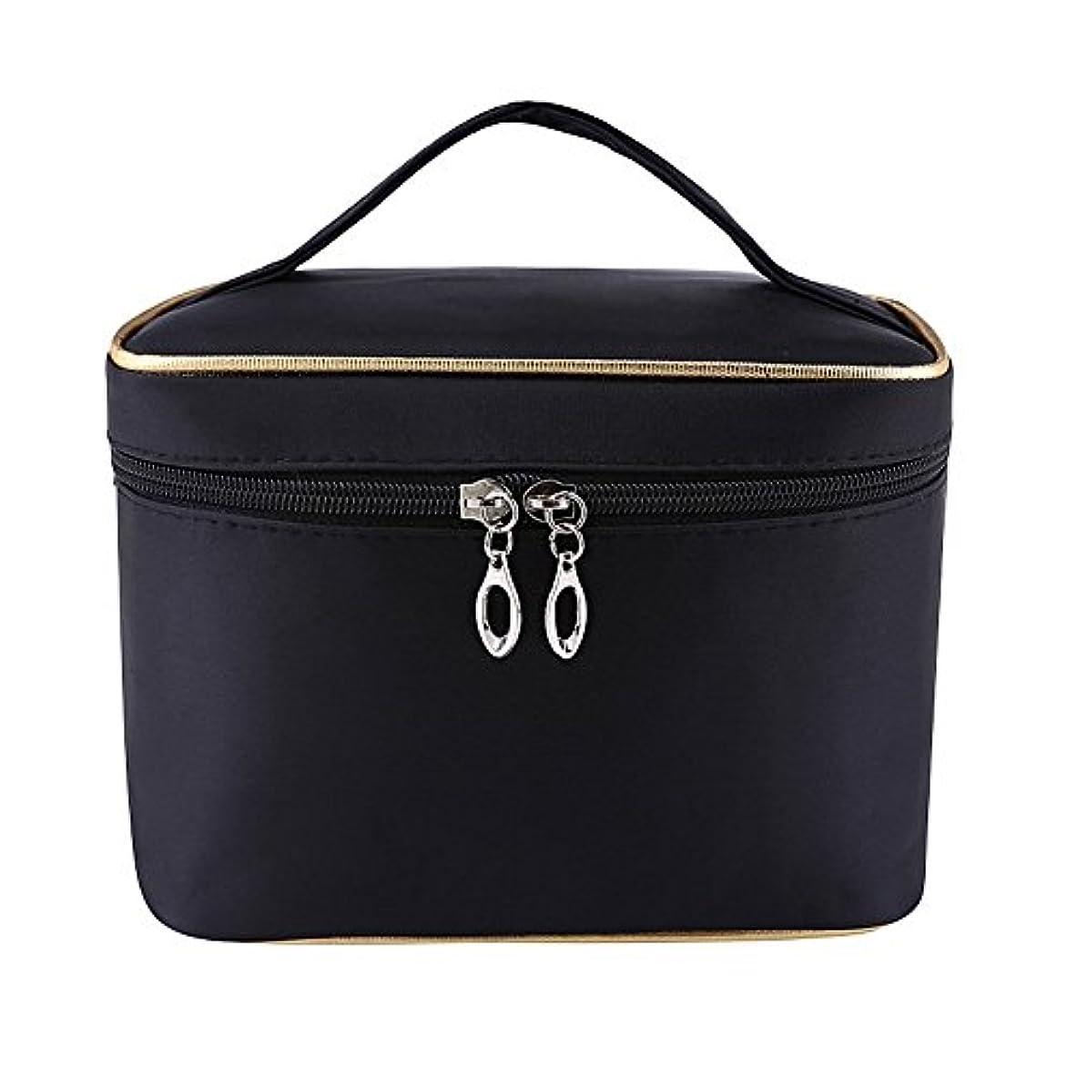 ユニークな広告彼のDRASAWEE(JP)レディース 大容量 コスメボックス 防水化粧バッグ 鏡付き 収納ケース 便利 ダブルファスナー メイクポーチ 小物入れ ブラック
