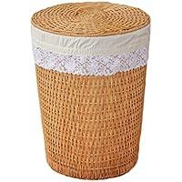 籐で籐ランドリーバスケットコットンの細かいライニング汚れたハンパーの服雑貨のストレージバスケット、40 * 30 * 50センチメートル (色 : A)