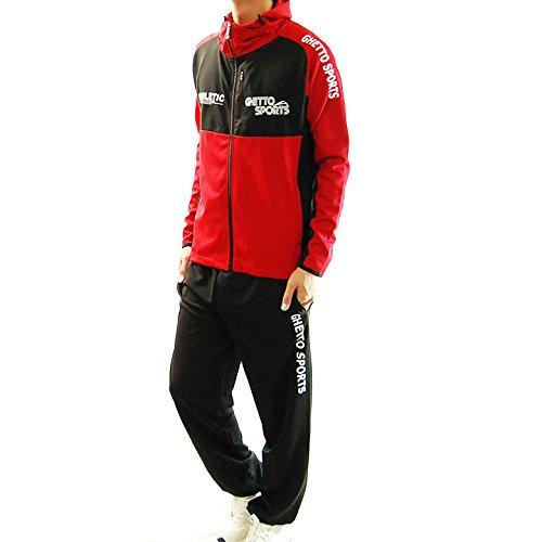 (フリースタイル)Freestyle ランニングウェア 上下セット スポーツ パーカー ジャージ 2837 レッド×ブラック M