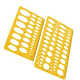 Rocutus 2pcs Ellipse Isometric Oval Geometry College Math Stencil Template Ruler for School Office (2 Pieces)