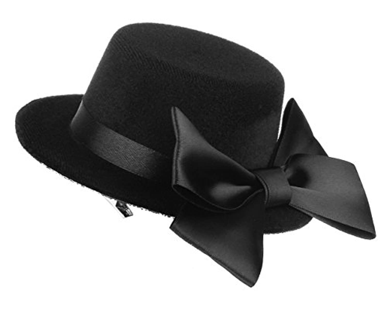C-Princess ウェディング ヘアアクセサリー ミニハット 帽子 ヘアクリップ ヘッドドレス 髪飾り レディース ガールズ リボン付き かわいい ブラック