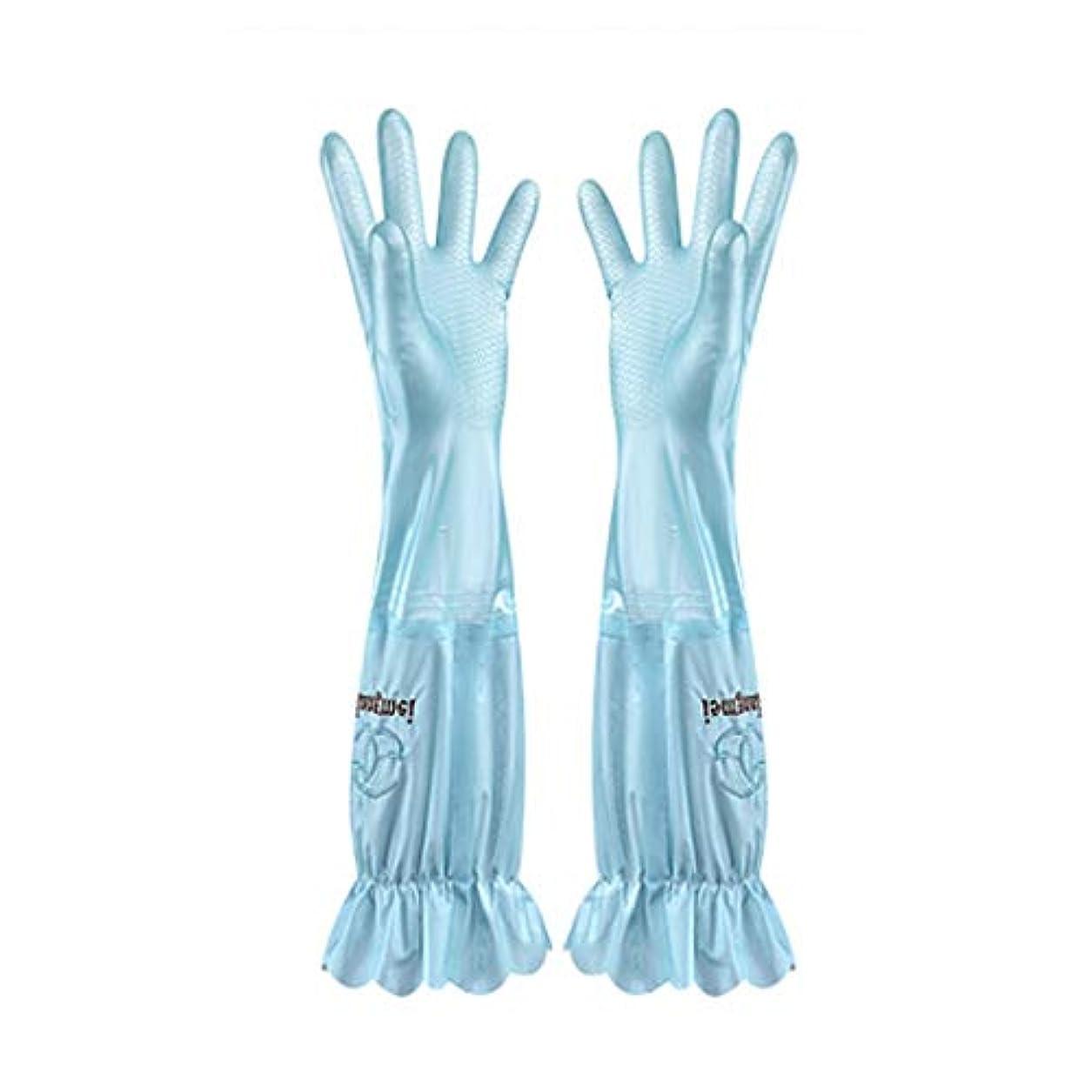 背骨工場ハードウェアニトリルゴム手袋 食器洗い用手袋水耐久性のあるゴム製台所ゴム製厚いセクションプラスベルベットの手袋、1ペア 使い捨て手袋 (Color : BLUE, Size : L)