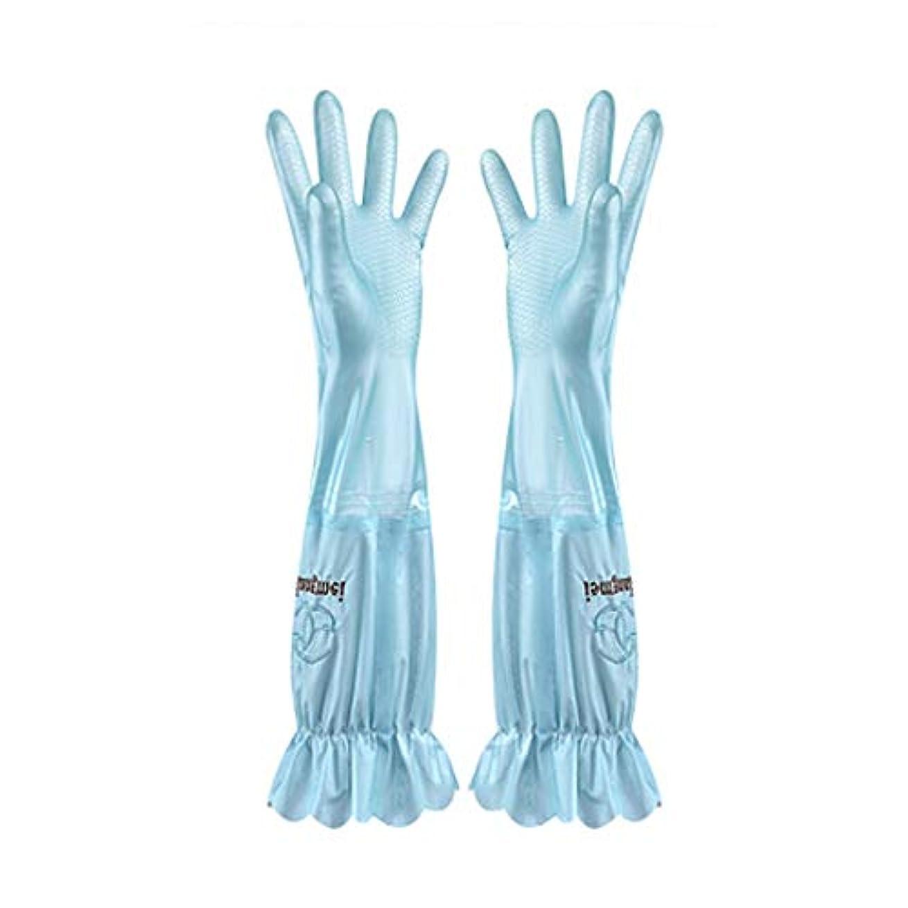 天のだます印象派ニトリルゴム手袋 食器洗い用手袋水耐久性のあるゴム製台所ゴム製厚いセクションプラスベルベットの手袋、1ペア 使い捨て手袋 (Color : BLUE, Size : L)