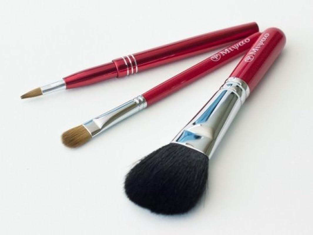 まぶしさ分注する無視できる熊野化粧筆 レッドパール3本セット(携帯用リップブラシ)[ショート軸タイプ]