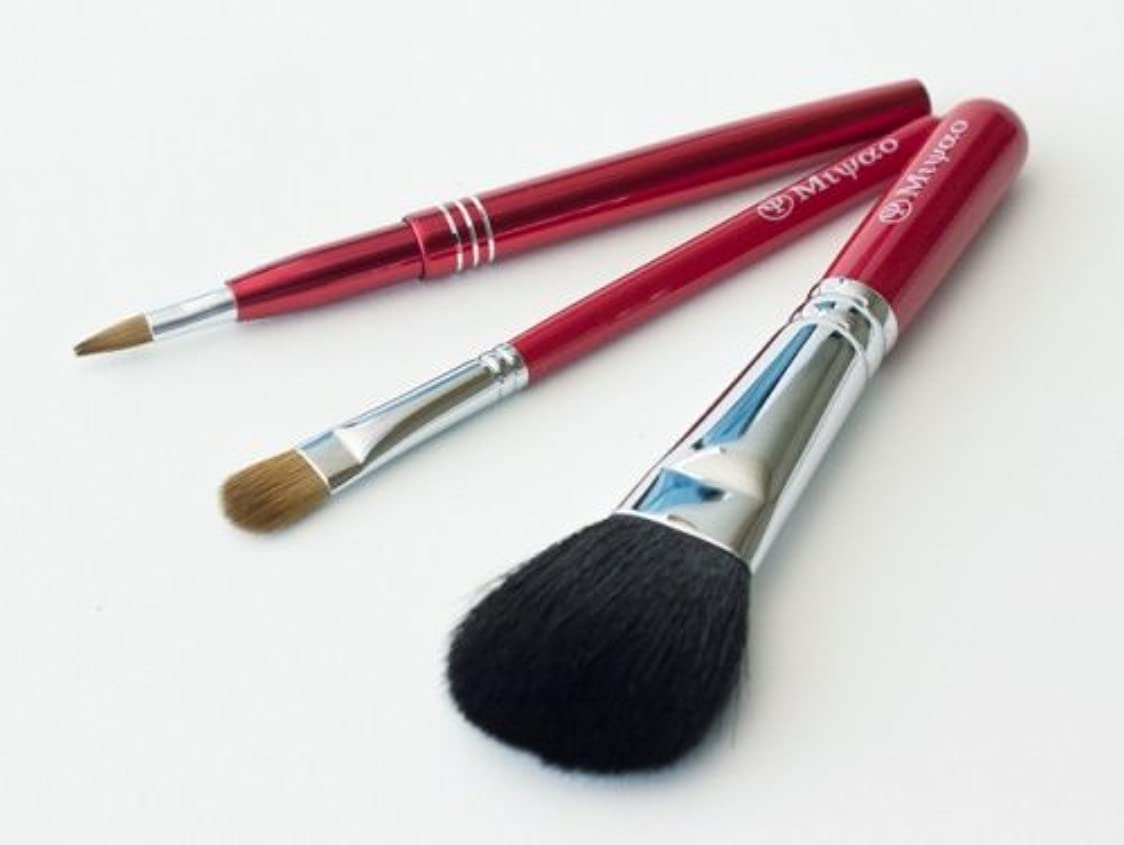 周術期ドロー深さ熊野化粧筆 レッドパール3本セット(携帯用リップブラシ)[ショート軸タイプ]