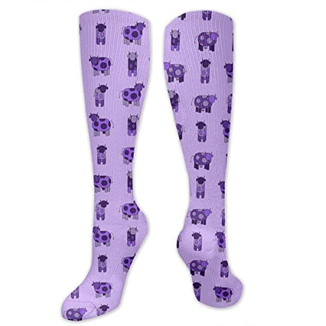 ソロゆるいパトワ靴下,ストッキング,野生のジョーカー,実際,秋の本質,冬必須,サマーウェア&RBXAA Light Purple Cows Socks Women's Winter Cotton Long Tube Socks Knee...