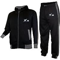 X-2 Mens Athletic Full Zip Fleece Activewear Hooded Tracksuit Jogging Jacket Set