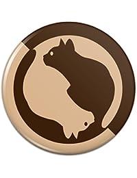 猫のシルエットピンバックボタンピンバッジ - 1
