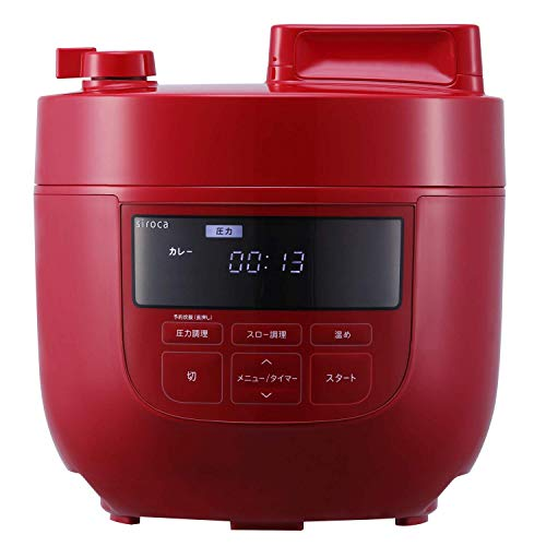 siroca 電気圧力鍋 SP-4D151 レッド [1台6役(圧力・無水・蒸し・炊飯・スロー調理・温め直し)/大容量4Lモデル]