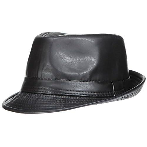 EOZY ハット 中折れ 帽子 つば広ハット 無地 メンズ レディース ユニ カジュアル 紳士帽 高級感 PUレザー 帽子 防寒 UV対策 秋冬 ブラック