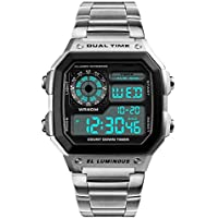 Mens Digital Watch Stainless Steel Square Dial Quartz Wristwatches Waterproof Dual Time Alarm Stopwatch Business Watches Silver