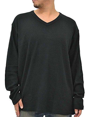 (エドウィン) EDWIN 大きいサイズ Tシャツ メンズ ブランド 長袖 ロンT 無地 Vネック 3color 3L ブラック