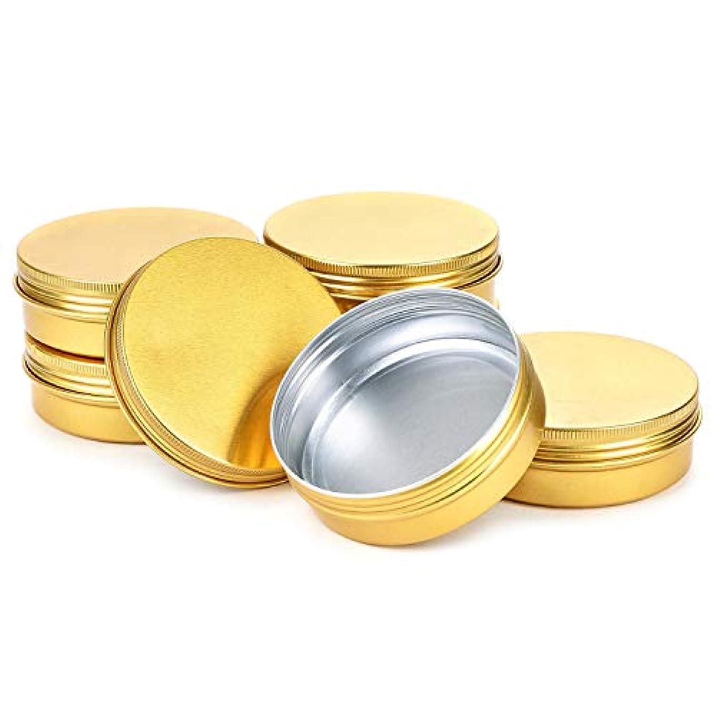 排気放射性上にNrpfell ブリキ缶スクリュートップ容器 アルミ丸鋼錫缶 トラベル缶ストレージジャーフード缶ふた付き容器金属缶、ゴールド(24パック)