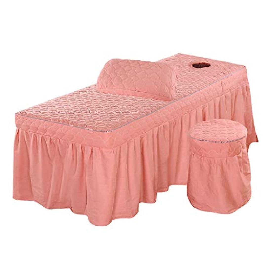 写真撮影剪断初期の3点セット 美容ベッドスカート 有孔 スツールカバー 枕カバー付き 通気性 - ピンク