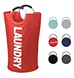 outdoorflyランドリーバスケット、簡単収納Laundry Hamper with Handles、折りたたみ服バッグ、折りたたみ式洗濯Bin , Self Standing for Colle