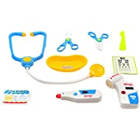 Doctor Medical Play Set- for preschoolers; lots of medical equipment including stethoscope, medical scissors and tray, battery operated thermometer and pulse checker, scalpel, work permit card
