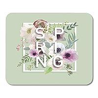 マウスパッド夏のスローガンロマンチックなビンテージマウスマットのアネモネの花を使った花の春のグラフィックデザインマウスパッド
