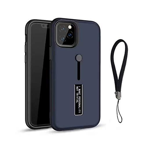 「A-chito」 iPhone 11 Pro 5.8インチ ケース ポリカーボネート + TPU 二重構造 ストラップホール付き ステルス スタンド 耐衝撃 防塵 防指紋 滑り止め 保護バンパー (ブルー)