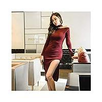 セクシーなニットのドレスバッグヒップシンスプリットフォークボトムスカートの長いセクションでの自己耕作の2019韓国語版,ワインレッド,S