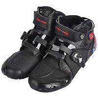 オートバイ靴 バイク用ブーツ スポーツブーツ メンズ ツーリング ライディング 強化防衛靴 レーシングブーツ ライダーブーツ ショートブーツ 大人用 25-27cm (ブラック, 40 (25cm))