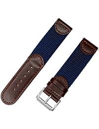 IVAPPON[アイーヴァポン] 時計ベルト 時計バンド メンズ イタリアン レザー ナイロン スタイル カーフスキン (18mm 茶褐色革/ネイビーナイロン)