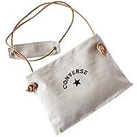CONVERSE (コンバース) レザー ロープ キャンバス サコッシュ dwearsステッカー入り バッグ メンズ レディース 東京 TOKYO ショルダーバッグ ポーチ <グレー>