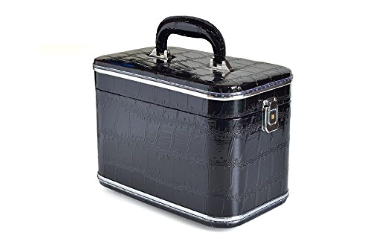 バッテリー怖がらせる描写コスメボックス 化粧収納ボックス トレンケース 化粧雑貨 ポーチ メイクボックス 鏡付き (33#/型押しブラック)