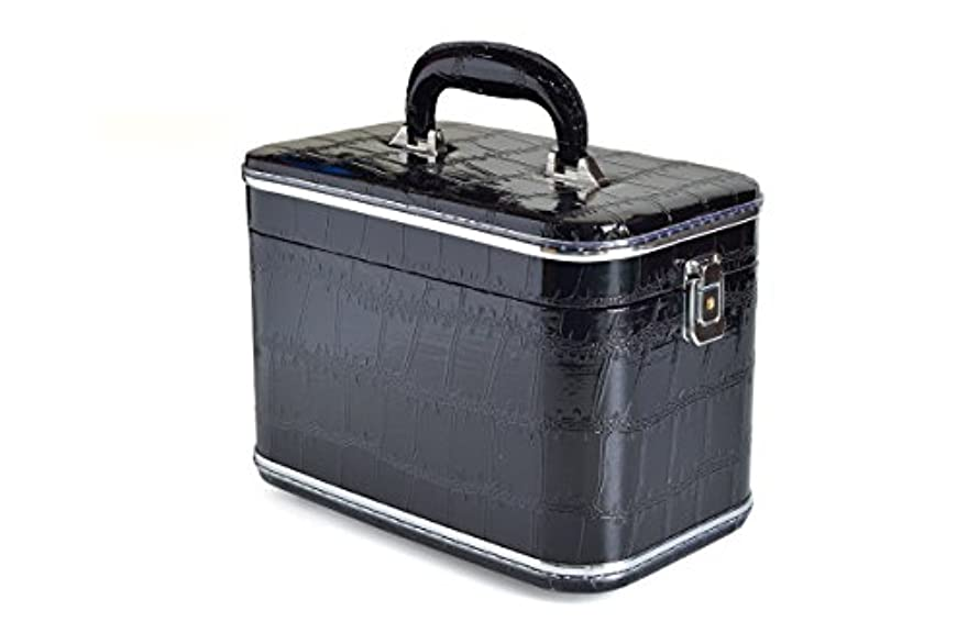 コスメボックス 化粧収納ボックス トレンケース 化粧雑貨 ポーチ メイクボックス 鏡付き (33#/型押しブラック)