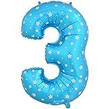 40インチ の大きなデジタルホイル バルーンブルーの番号3 虹色数字3 パーティー小物 飾り 屋外 誕生日 パーティ 文化祭やハロウィン 装飾 風船
