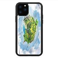 iPhone 11 Pro Max 用 強化ガラスケース クリア 薄型 耐衝撃 黒 カバーケース 世界 マンガ・グローブ・グリーン iPhone 11 Pro 2019用 iPhone11 Pro Maxケース用