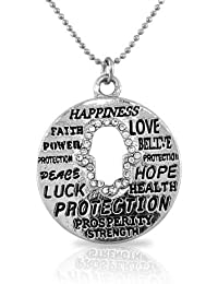 Fashion Alloy Silver-Tone Hamsa Evil Eye White CZ Pendant Necklace