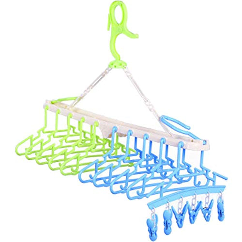 Te Fiti 赤ちゃん10連ハンガー キッズ ベビーハンガー ハンガーラック 洗濯ハンガー 折り畳み 取り外し10連ハンガー(グリーン&ブルー)