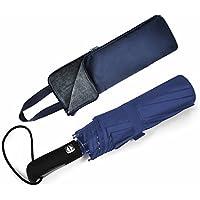 LEEPWEI 折りたたみ傘 ワンタッチ自動開閉 折り畳み傘 軽量 Teflon撥水加工 210T高強度グラスファイバー 頑丈な10本骨 118cm 耐強風 晴雨兼用 収納ポーチ付(ブルー)