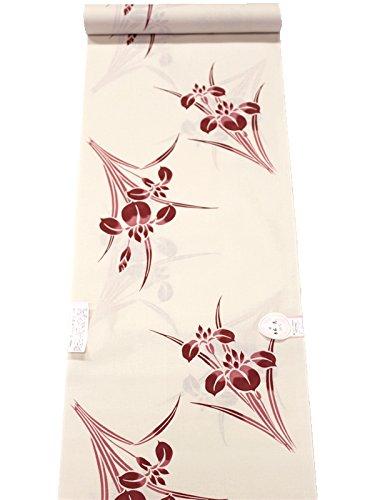 日本製 綿100% 浴衣生地 反物 捺染 「あやめ柄」 肌色...