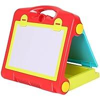 Shinehalo お絵かきボード お絵かきボード 水ペン カラフルチョーク 磁気ホワイトボード 黒板 折りたたみ式 両面 大きなサイズ黒板消し落書きボード可能 ワードパッド 落書きボード可能 子ども用 組立式 教育 おもちゃ 両面ディスプレイボード 両面使用可能  - 赤+緑+黄