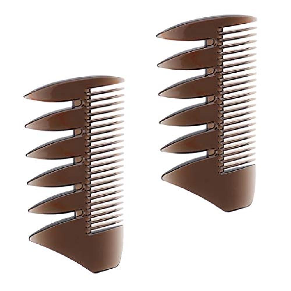 経済ゴネリル変装した2個入 ヘアコンビ デュアルサイド メンズ 髪櫛 ヘアサロン ヘアスタイリング 散髪店/美容院専用櫛