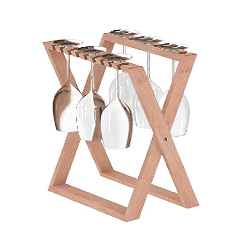 ISINO Bamboo Wine Glass Rack, Foldable Countertop Wine Stemware Drying Rack, Tabletop Glass Stand Organiser for 6 pcs Wine Glasses