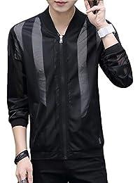 Alhyla メンズ ジャケット 夏 ジャンパー 無地 ブルゾン 韓国版 薄手 コート 日焼け止め衣 スリム 長袖 ゆったり アウター トップス カジュアル シンプル 通勤 通学
