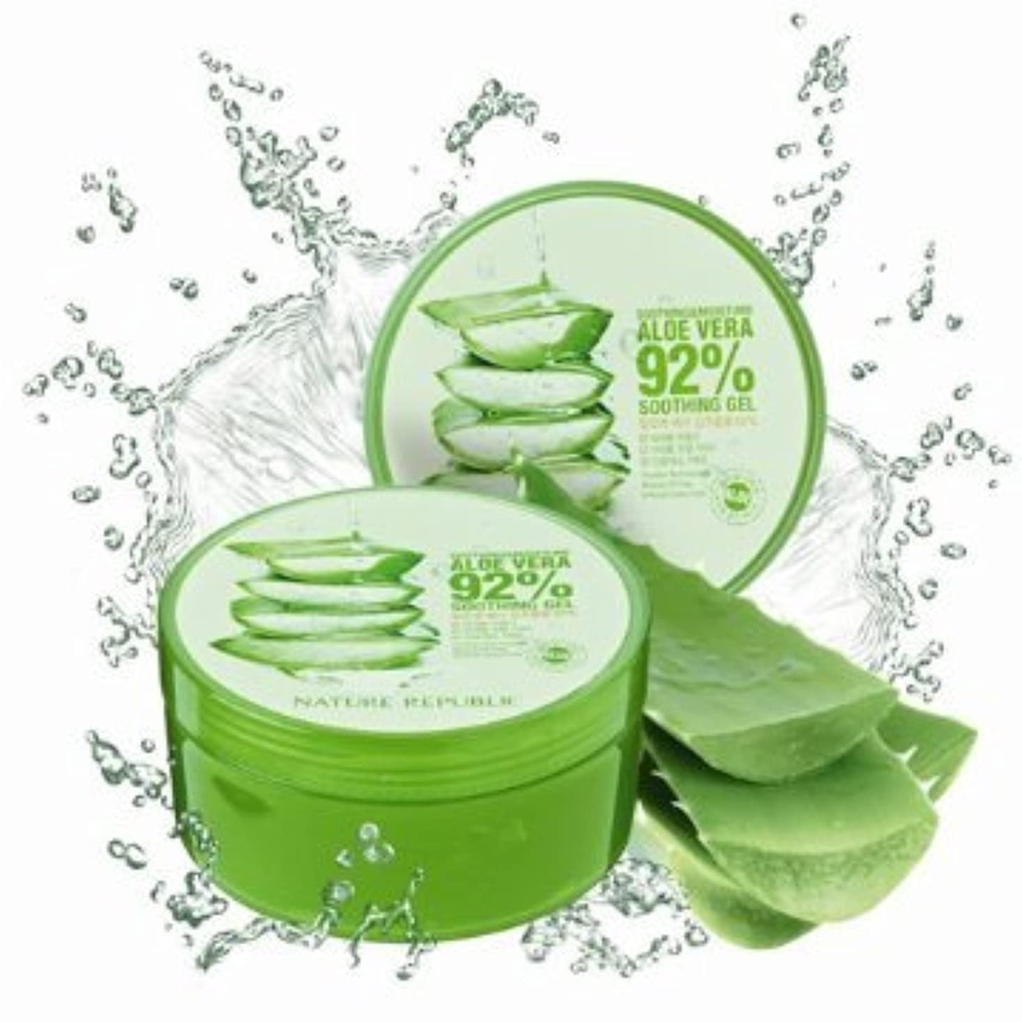 稚魚統合するリットルNature Republic Soothing& Moisture ALOE VERA 92%GEL (300ml)