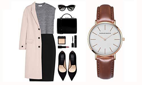 レディース 腕時計 Hannah Martin おしゃれ クラシック シンプル 女性 時計 ビジネス クォーツ watch for women (ホワイト+ブラウンバンド)