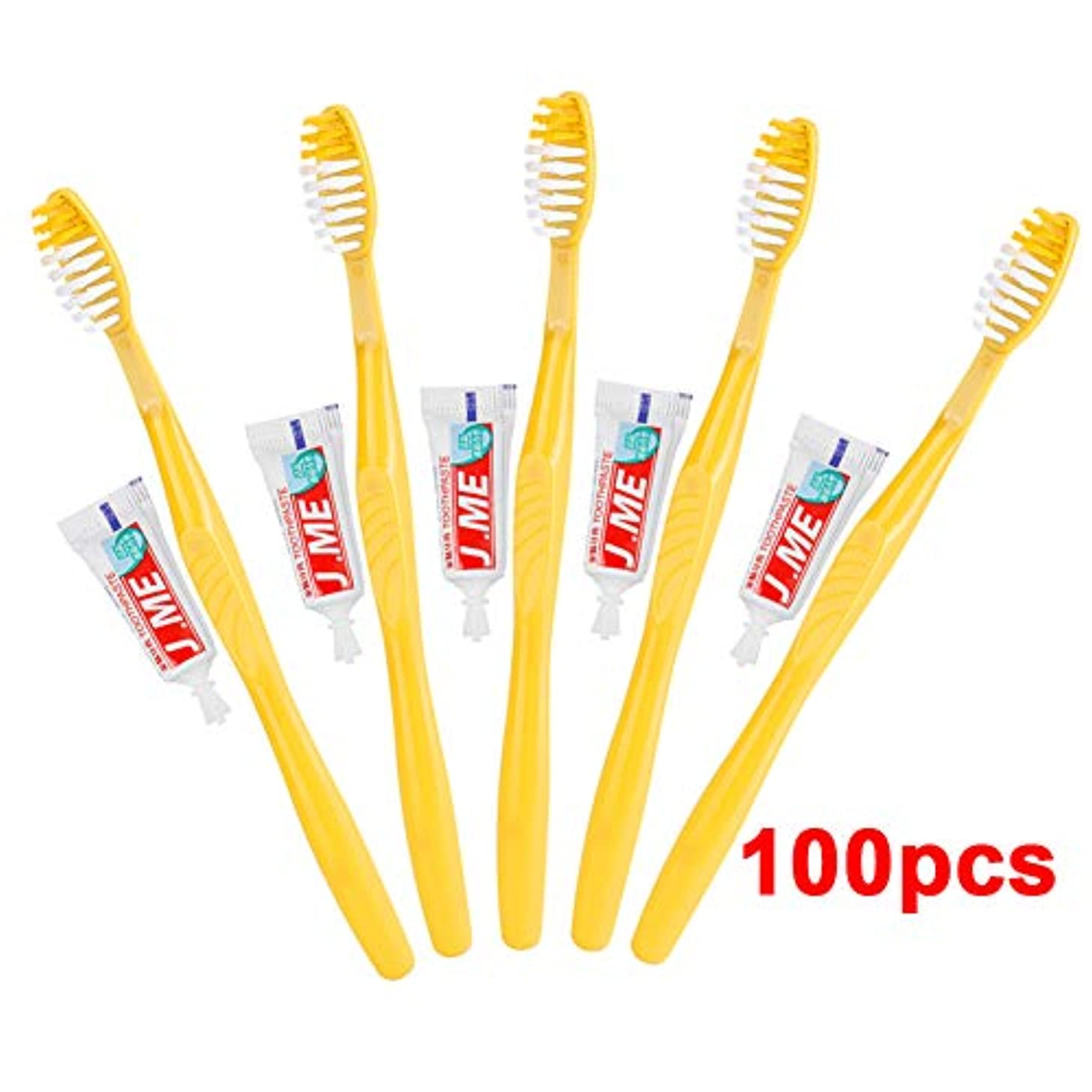 蛾順応性出くわすDoo 超安い 100本入り 業務用使い捨て歯ブラシセット ハミガキ粉付き 使い捨て歯ブラシ ビジネス ホテル 工業用